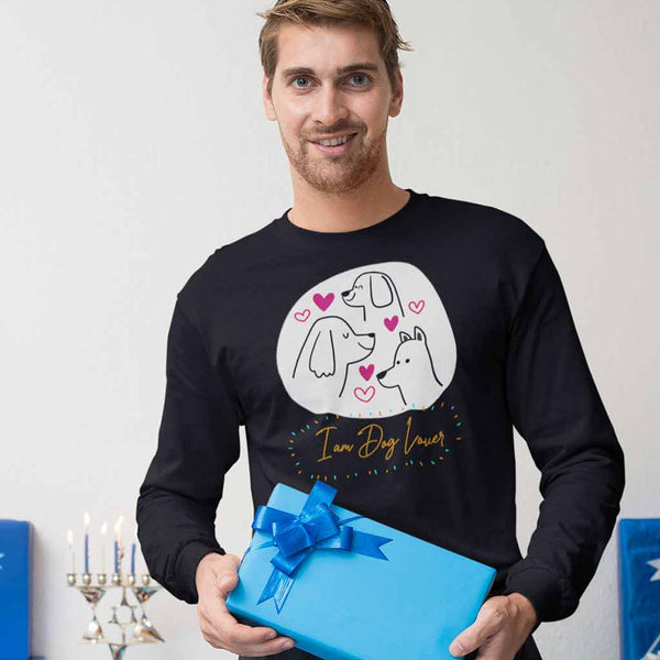black-long-sleeve-tee-for-dog-lovers-holding-a-present