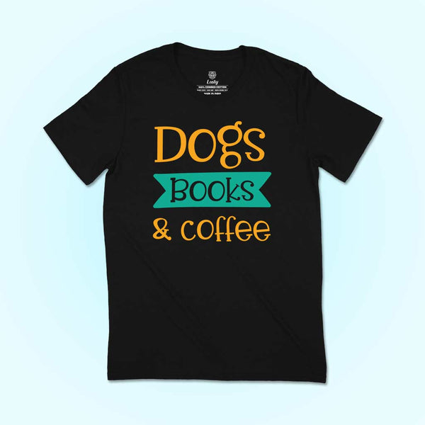 Black t-shirt Dog books and Coffee