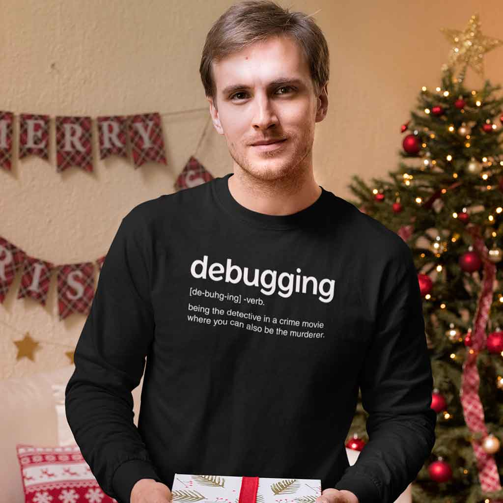 coder-t-shirts-india-of-a-man-holding-a-christmas-gift
