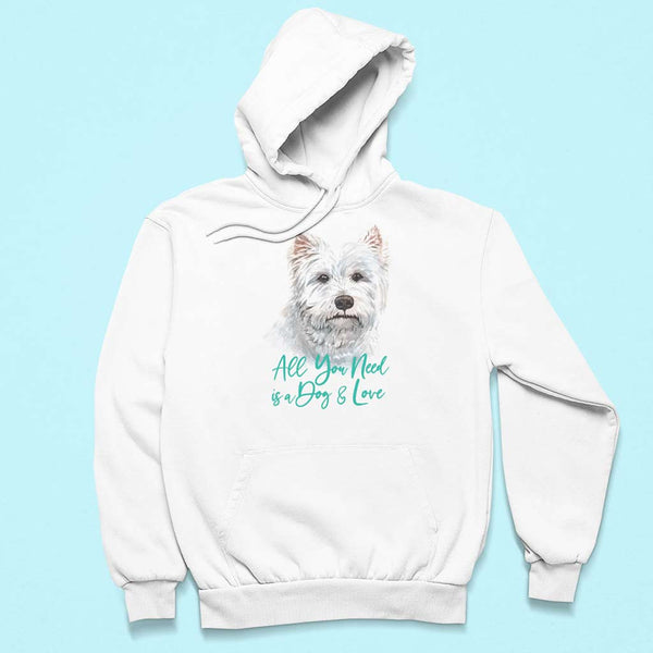 flat-lay-white-t-shirts-with-dog-prints-of-a-pullover-hoodie-over-a-customizable-surface