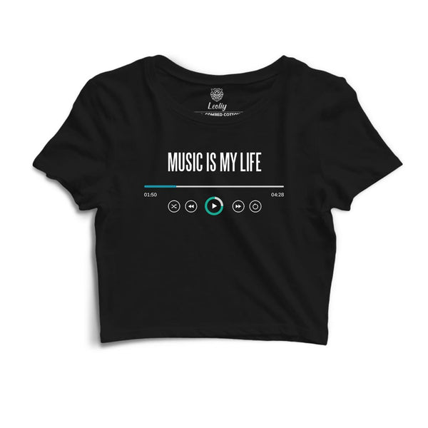 Black crop top with music quotes