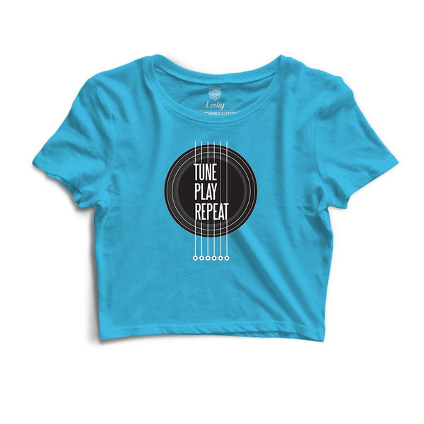 Tune Play Repeat Crop Tee