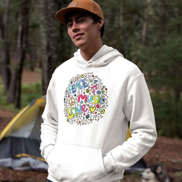 hoodies-for-men-white-wearing-a-pullover-hoodie-in-the-woods