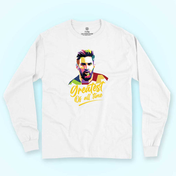 lionel-messi-barcelona-featuring-white-long-sleeve-tee-placed-on-a-colored-surface
