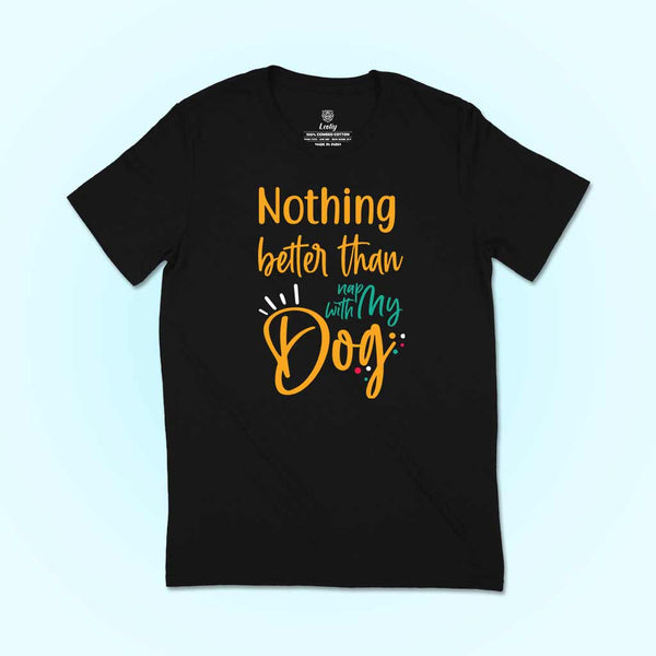 men-wearing-a-black-round-neck-t-shirts-for-dog-lovers-smiling-at-his-dog