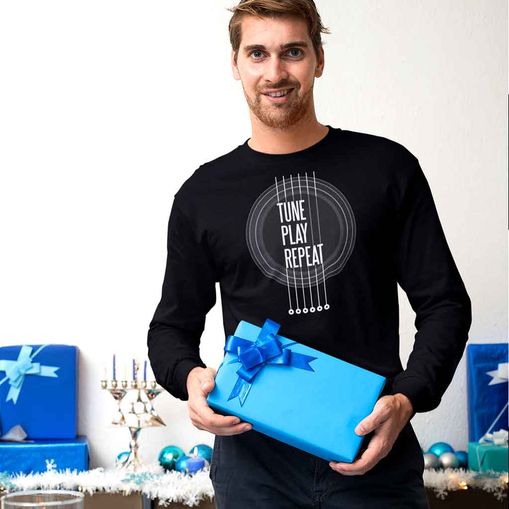 mens-full-sleeve-t-shirts-online-of-a-man-holding-a-present-at-a-hanukkah-celebration