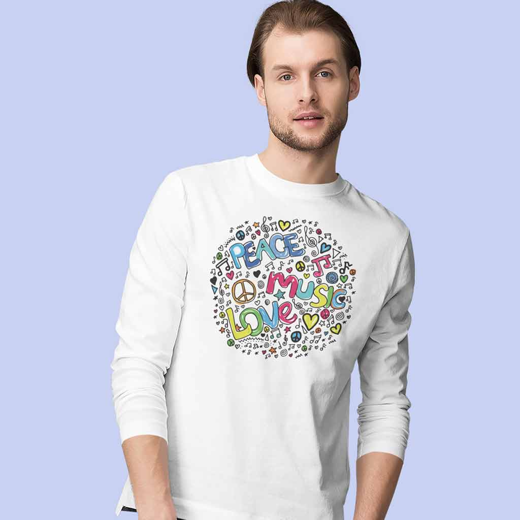 mens-white-full-sleeve-t-shirts-indiafeaturing-a-man-posing-against-a-colored-backdrop