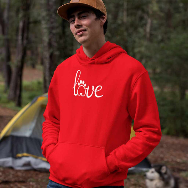 red-graphic-hoodies-for-men-wearing-a-pullover-hoodie-in-the-woods