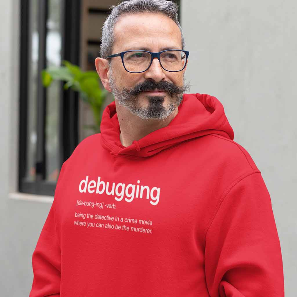 red-hoodie-t-shirt-for-developers-man-with-a-mustache-wearing-a-hoodie