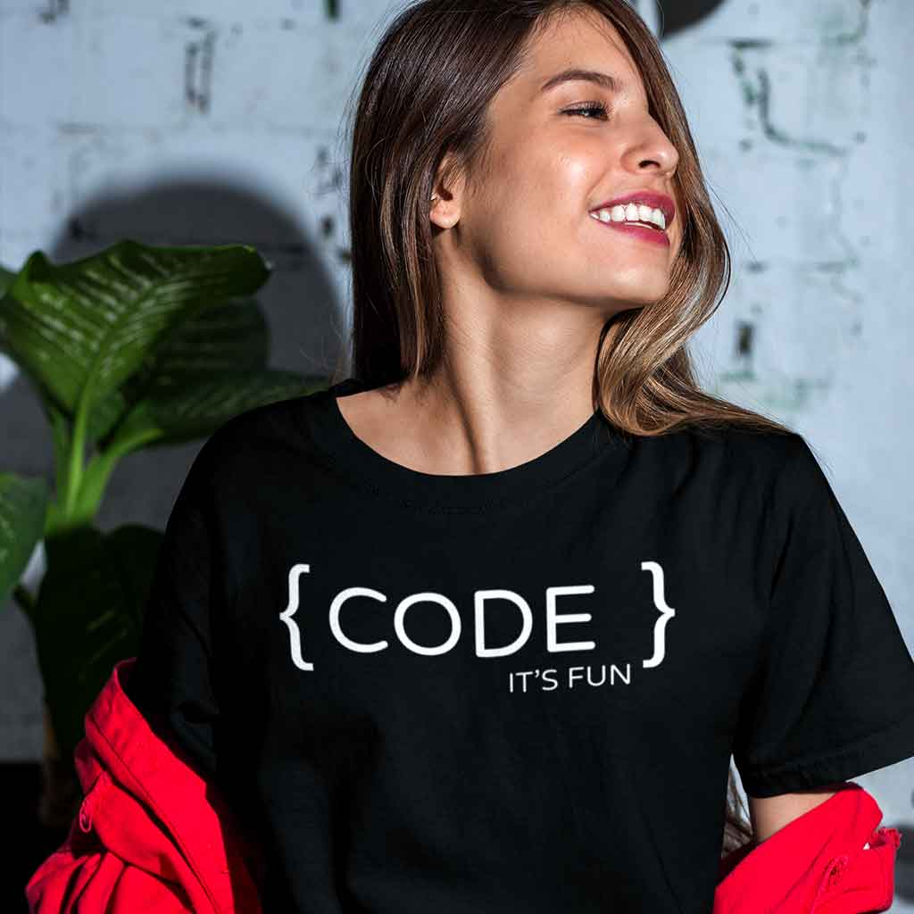 unisex-programming-t-shirts-featuring-a-happy-girl-with-a-trendy-black-outfit