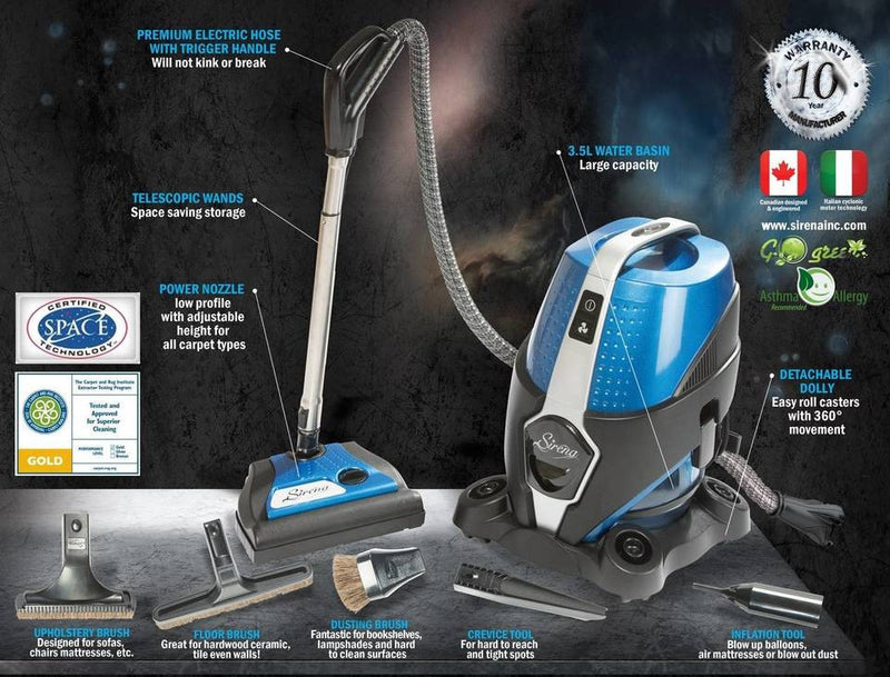 Sirena Canister Vacuum Cleaner with Water Filtration - MLvac.com
