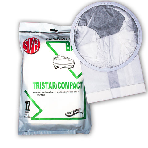 BA20320 COMPACT TRISTAR PAPER BAG FOR ALL MODELS 12 PACK SVB BETTER QUALITY ALSO FITS ALL MODELS OF AIR STORM AND PATRIOT