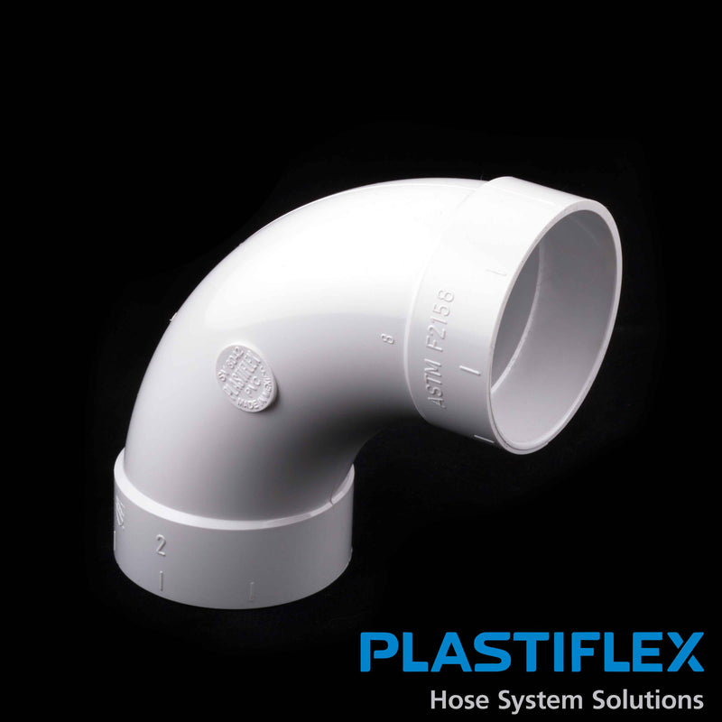 Plastiflex Central Fitting 90 Degree Sweep, ELL , White