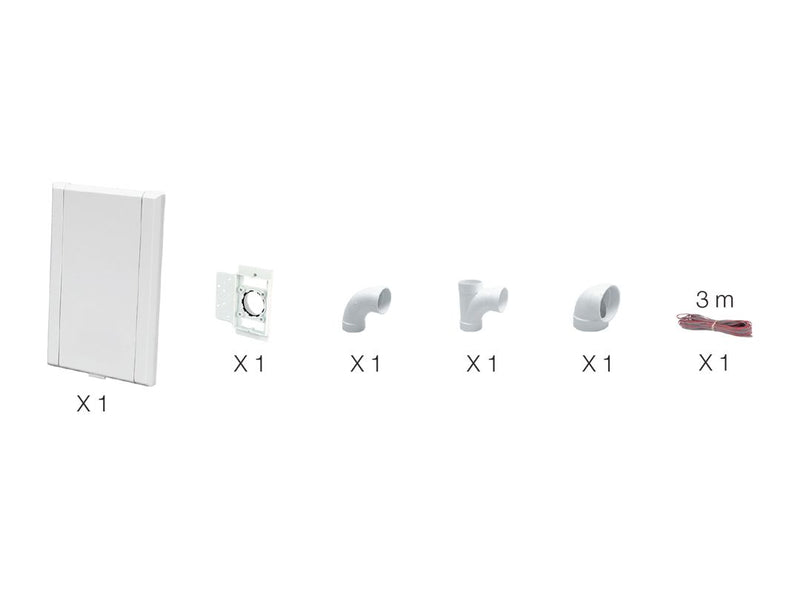 Nearby installation kit for 1 Vaculine wall inlet with 1 white inlet