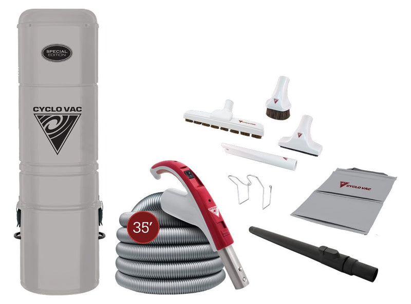 "Cyclovac Central Vacuum Special Edition Hybrid H215 with attachment kit 24V including Super Luxe brush 12"" (30.5 cm) & hose 35' (10.67 m)"