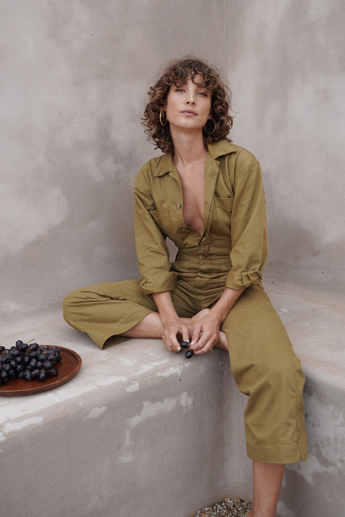 DENIM COVERALLS OLIVE