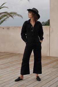 DENIM COVERALLS BLACK