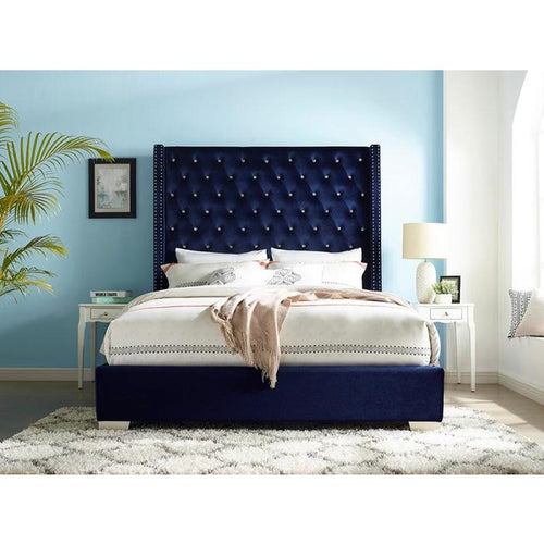 UPHL VELVET EK BED, BLUE