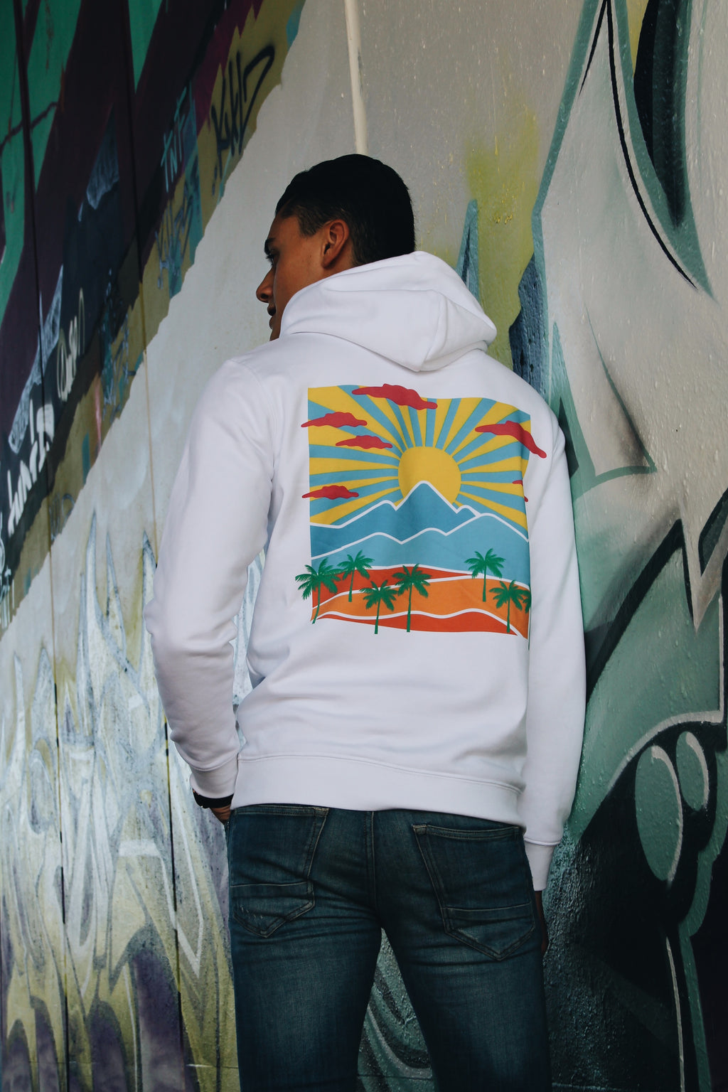 JNGL Clothing - Safari Sunset Hoodie // White - Back (model)
