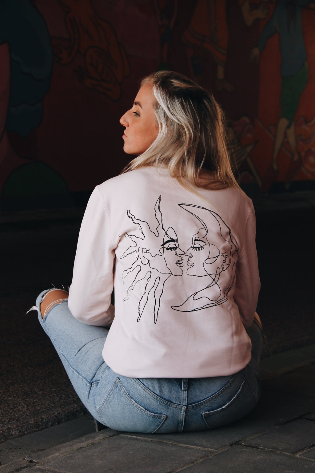 JNGL Clothing - Sun Moon Art Sweater // Candy Pink - Back (On Model)