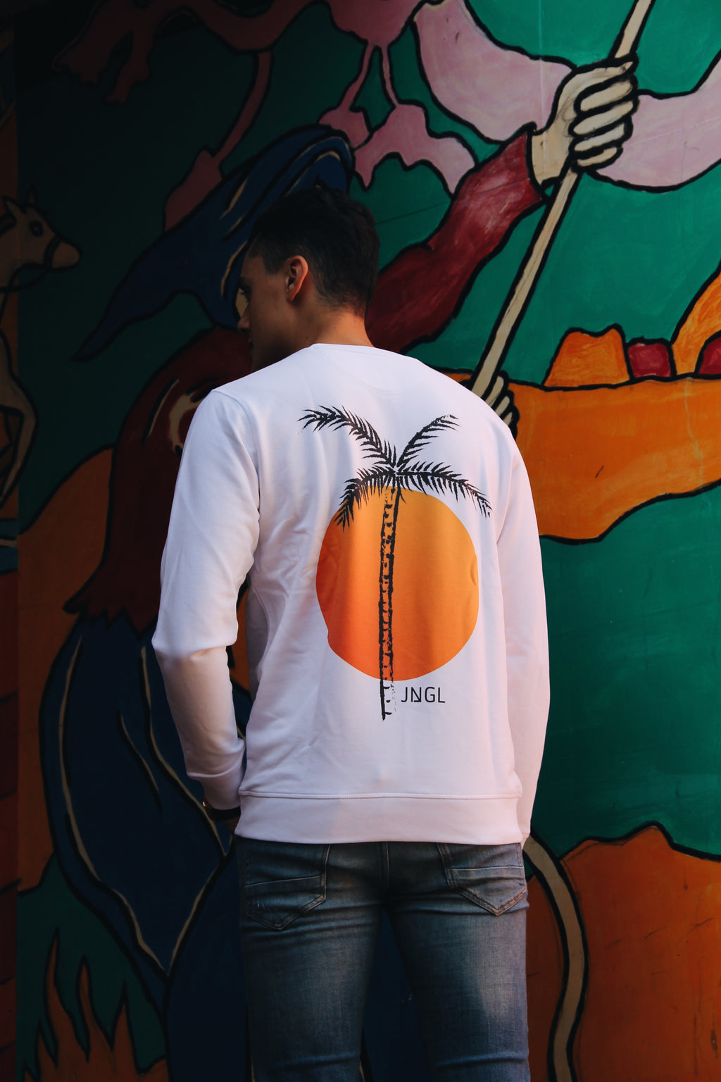 JNGL Clothing - Palm Tree Sweater // White - Back (On Model)