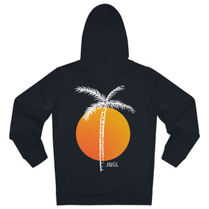 JNGL Clothing - Palm Tree hoodie // Black - Back (stock)