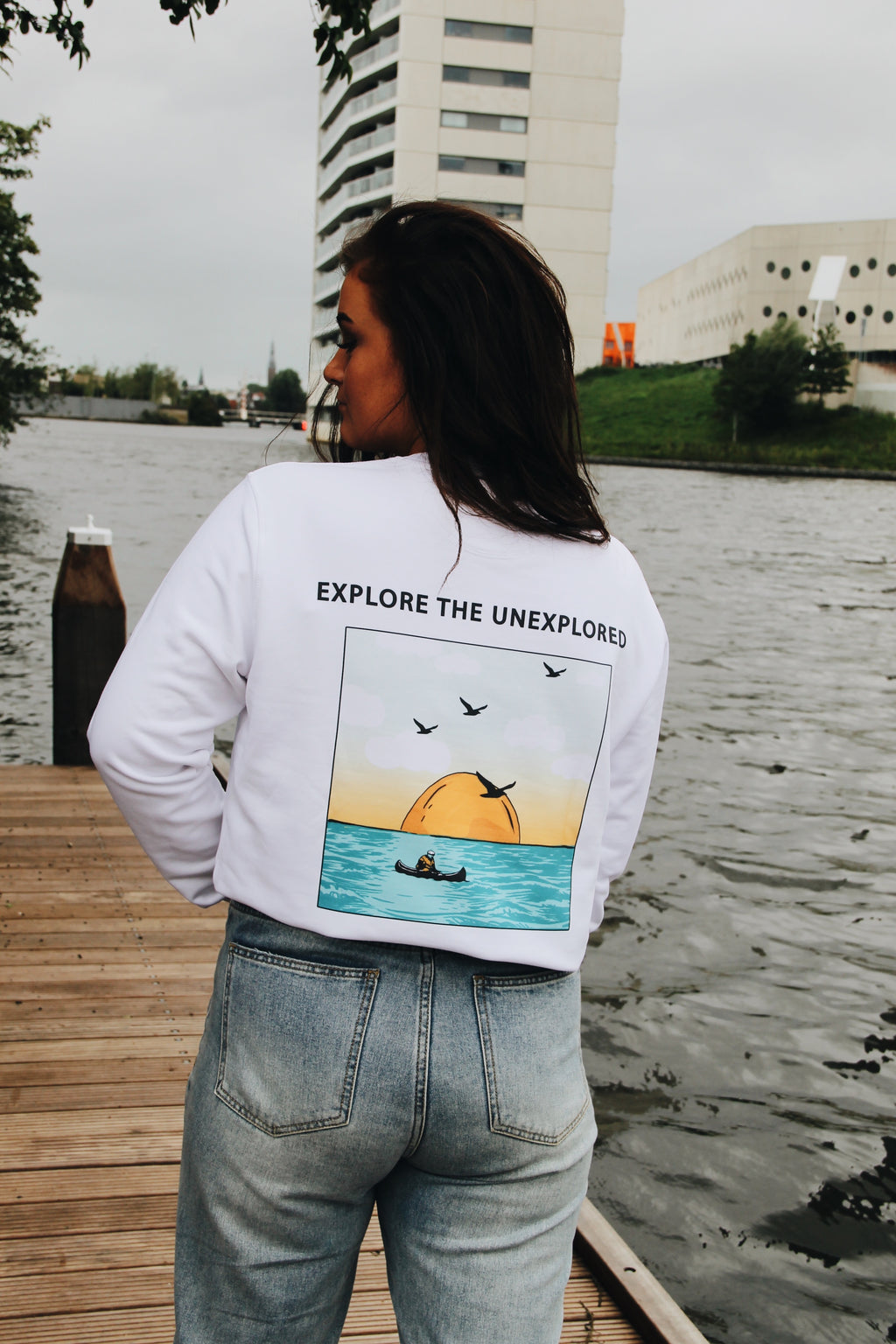 JNGL Clothing - Explore The Unexplored Sweater // White - Back (On Model)