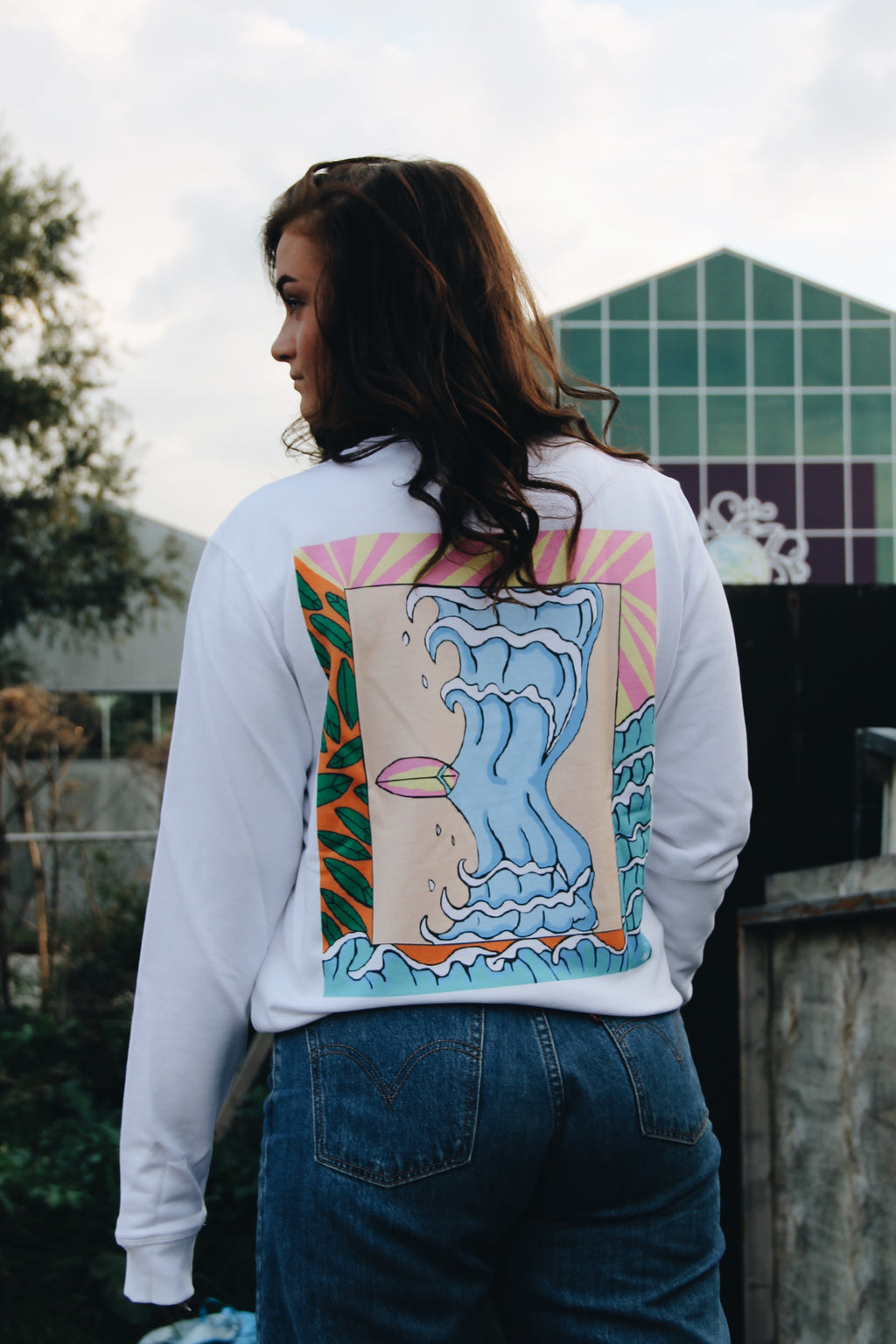 JNGL Clothing - Surflife Sweater // White - Back (on model)