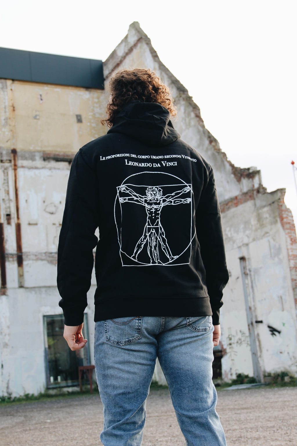JNGL Clothing - Leonardo Da Vinci hoodie // Black - Back (on model)