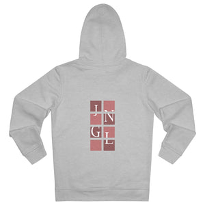 JNGL Clothing - The Vintage Vertical Hoodie // Salmon & Rosewood // Heather Grey - Back (stock)