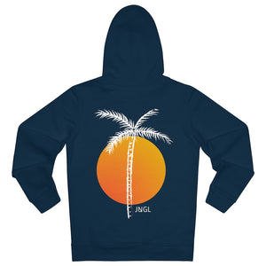JNGL Clothing - Palm Tree hoodie // French Navy - Back (stock)