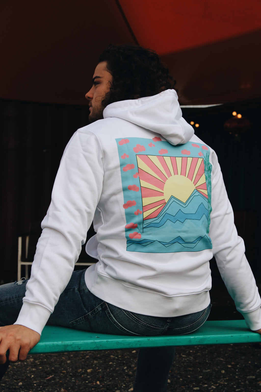 JNGL Clothing - Colorful Sunrise Hoodie // White - Back (on model)