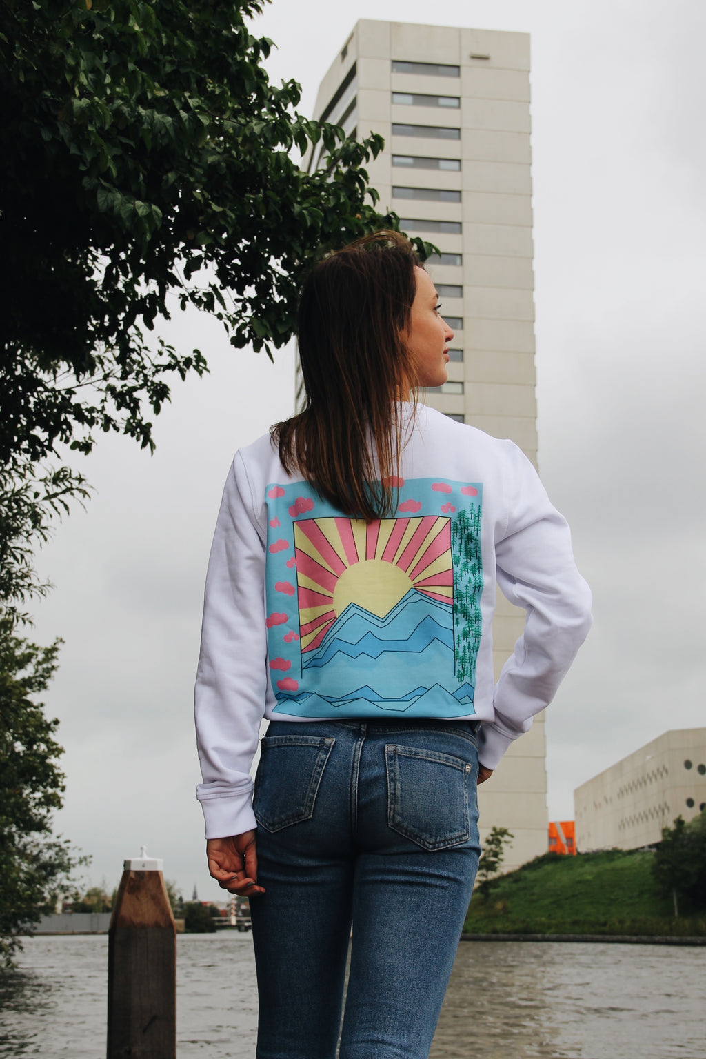 JNGL Clothing - Colorful Sunrise Sweater // White - Back (on model)