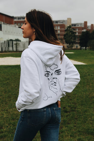 JNGL Clothing - Masterpiece of Art hoodie // White - Back (stock)