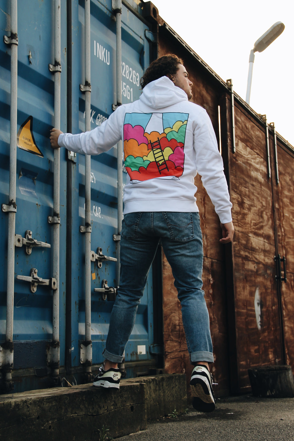 JNGL Clothing - Way to Salvation hoodie // White - Back (on model)