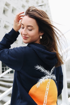 JNGL Clothing - Palm Tree hoodie // French Navy - Back (On Model)