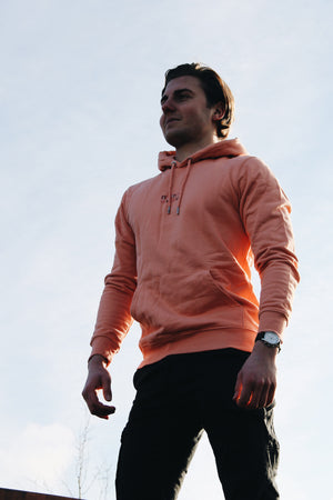 JNGL Clothing - The Vintage Hoodie // Salmon & Rosewood // Sunset Orange - Front (on model)