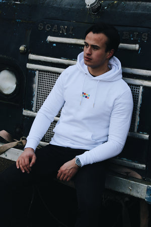 JNGL Clothing - The Vintage Hoodie // White - Front (on model)
