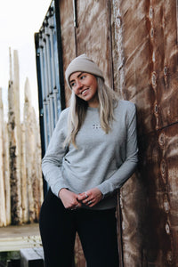 JNGL Clothing - The Vintage Sweater // Grey & Fossil // Heather Grey - Front (on model)