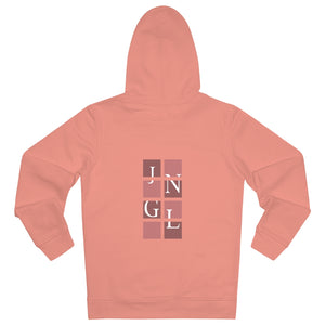 JNGL Clothing - The Vintage Vertical Hoodie // Salmon & Rosewood // Sunset Orange - Back (stock)