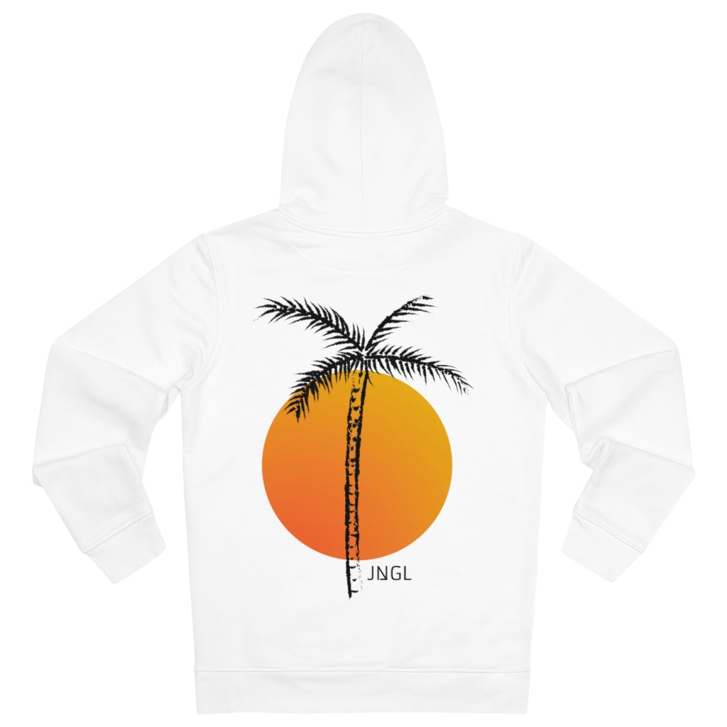 JNGL Clothing - Palm Tree hoodie // White - Back (stock)