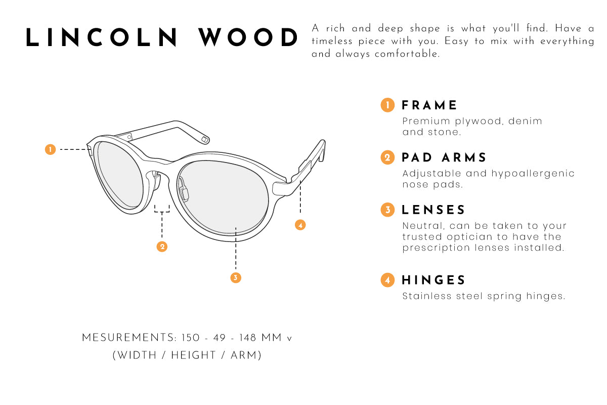 Lincoln wood eyeglasses