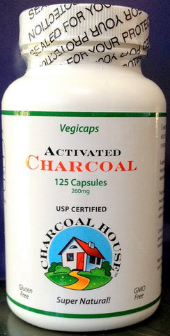Activated Charcoal Vegicaps - 125 High Grade USP Capsules