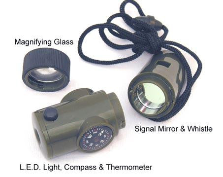 6 in 1 Survival Whistle with LED Light