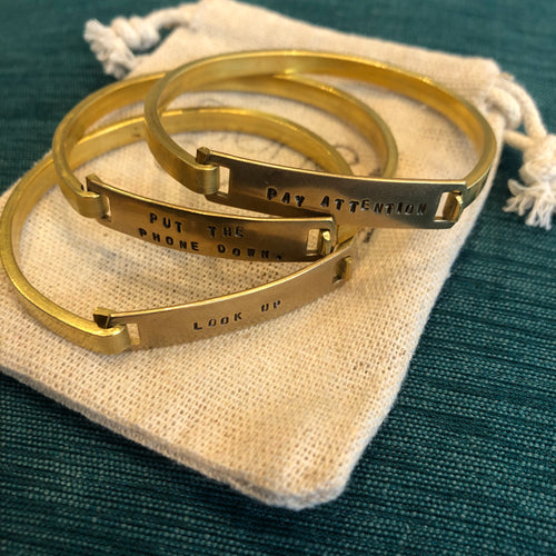 Screen/Life Balance Brass Motivation Bracelets