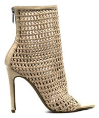 WEAVE -  NUDE FAUX LEATHER PEEP TOE STILETTO HEEL