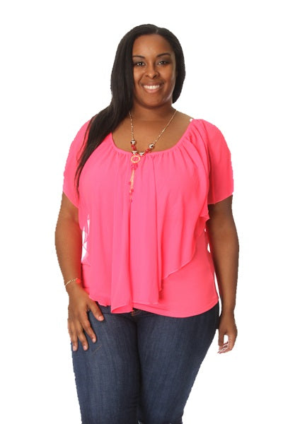 RUFFLED - PLUS SIZE HOT PINK RUFFLE TOP
