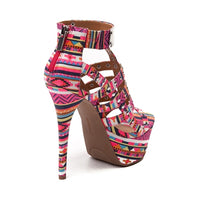 PINK TRIBAL PRINT CAGED SANDAL - Shoenanigan