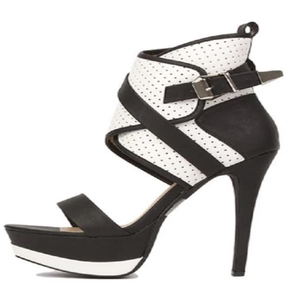 BLACK & WHITE LEATHER BOOTIE HEEL - Shoenanigan