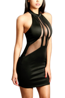 SHEER HALTER MINI DRESS - Shoenanigan